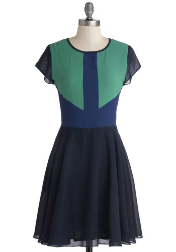 Swatch From the Balcony Dress - Chiffon, Woven, Blue, Green, Pockets, Party, A-line, Cap Sleeves, Better, Scoop, Sheer, Mid-length, Exclusives, Show On Featured Sale