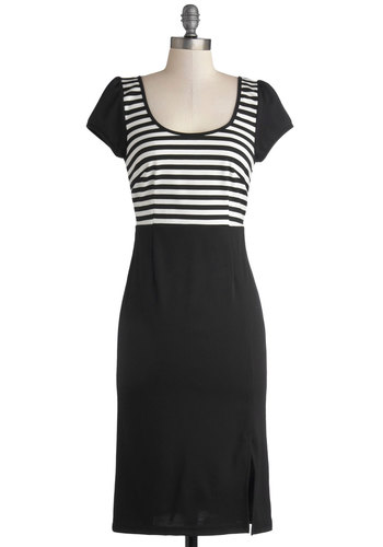 Rockin' Betty Dress - Knit, Long, Black, White, Stripes, Casual, Sheath / Shift, Cap Sleeves, Better, Scoop, Vintage Inspired, 40s, 50s, Work