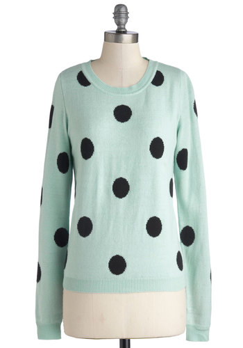 Like a Programmer Sweater - Black, Polka Dots, Long Sleeve, Good, Mid-length, Knit, Mint, Casual, Crew, Blue, Long Sleeve, Pastel