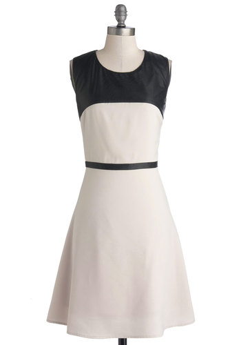 Suave Sophisticate Dress - Black, Work, Colorblocking, A-line, Sleeveless, Better, Scoop, Mid-length, Faux Leather, Woven, Cream