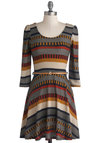 Streets Ahead Dress - Mid-length, Knit, Red, Orange, Blue, Tan / Cream, Grey, Stripes, Belted, Casual, A-line, 3/4 Sleeve, Good, Scoop, Multi, Fall