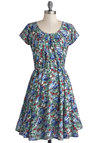 Indoor Arrangement Dress - Mid-length, Woven, Blue, Red, Multi, Floral, A-line, Cap Sleeves, Better, International Designer, Scoop, Pleats, Daytime Party