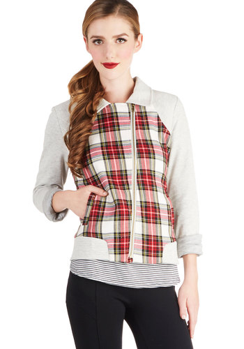 Boreal Journey Jacket - Plaid, Exposed zipper, Long Sleeve, Good, Knit, 1, Pockets, Casual, Red, Multi, Short