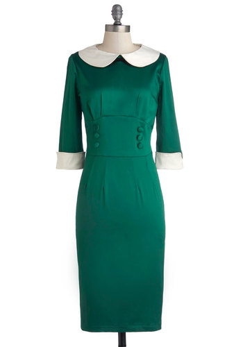 If the Dress Fetes - Green, White, Solid, Buttons, Peter Pan Collar, Holiday Party, Vintage Inspired, Sheath / Shift, 3/4 Sleeve, Better, International Designer, Collared, Long, Satin, Woven