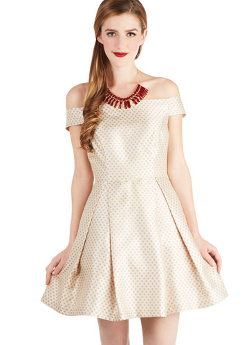That Time of Cheer Dress - Cream, Tan / Cream, Polka Dots, Pleats, Pockets, Party, A-line, Better, Woven, Short, Holiday Party, Off the Shoulder
