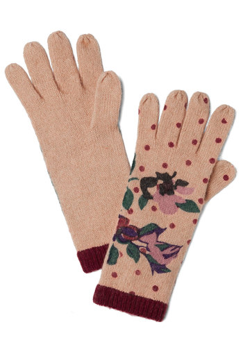 Antiquing Queen Gloves - Tan, Multi, Polka Dots, Floral, Fall, Winter, International Designer, Knit