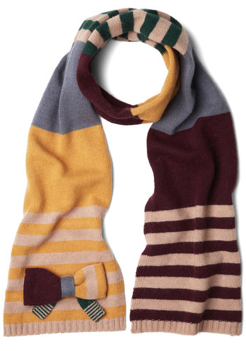 Museum Educator Scarf by Alice Hannah London - Solid, Stripes, Bows, International Designer, Fall, Winter, Knit, Multi