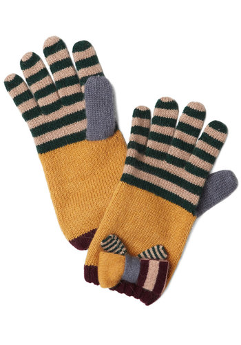 Museum Educator Gloves - Multi, Solid, Stripes, Bows, Fall, Winter, International Designer, Knit