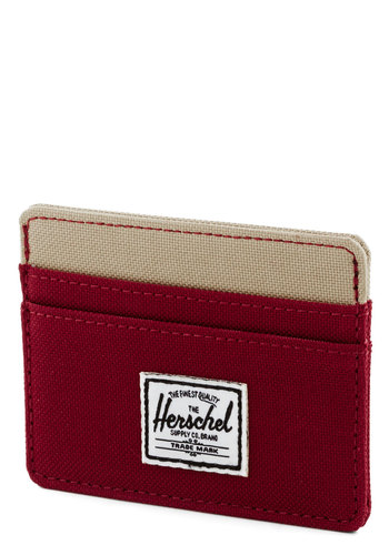 Spend Me on My Way Wallet by Herschel Supply Co. - Red, Tan / Cream, Solid, Woven, Casual, Colorblocking