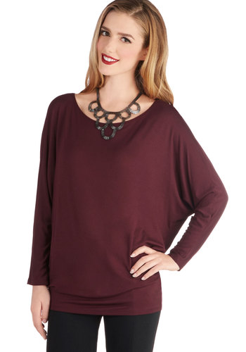 Open Sky Admiration Top in Burgundy - Knit, Mid-length, Red, Solid, Casual, Long Sleeve, Better, Variation, Scoop, Red, Long Sleeve