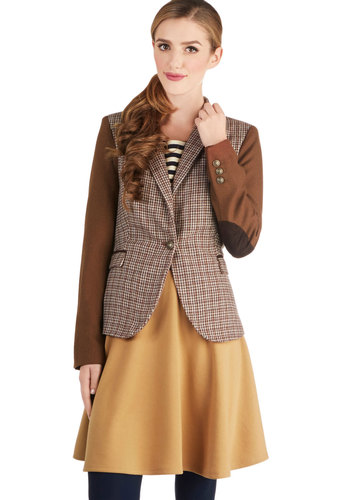 The Best Thing Gazette Blazer - Mid-length, Woven, Brown, Work, Long Sleeve, Good, 1, Houndstooth, Buttons, Patch, Pockets, Scholastic/Collegiate, Fall, Brown