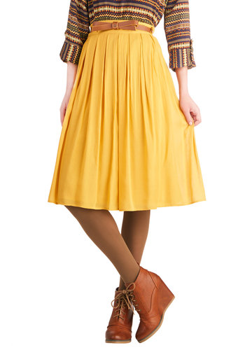 Porch Swing Dance Skirt in Sunshine - Yellow, Solid, Bows, Pockets, Belted, Casual, A-line, Good, Long, Woven, Pleats, Variation, Gifts Sale