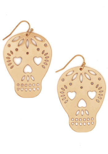 Play It Skull Earrings - Solid, Variation, Gold, Halloween, Skulls