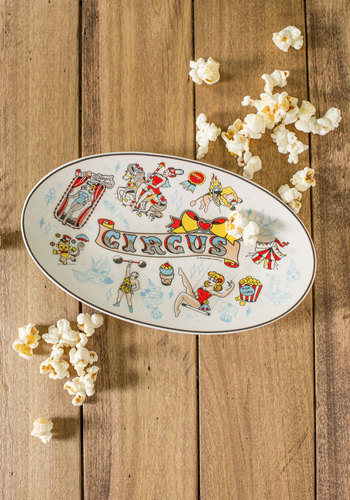 Big Top of the Town Serving Dish - Multi, Red, Yellow, Multi, Novelty Print, Party, Quirky, Good, Vintage Inspired