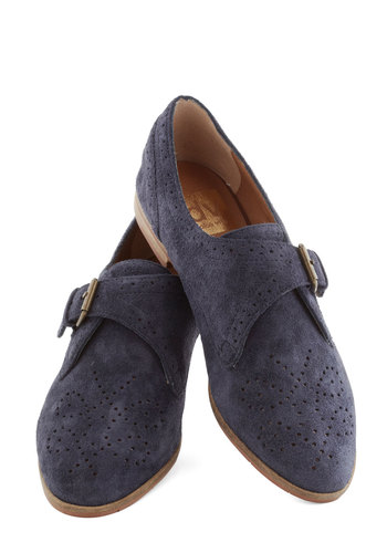 Two for the Shoe Flat by Dolce Vita - Flat, Leather, Suede, Blue, Solid, Buckles, Menswear Inspired, Better