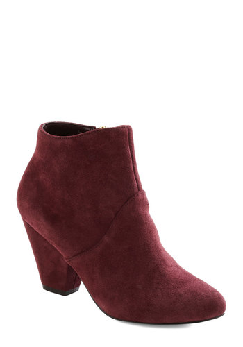 Record Store Romance Bootie by Dolce Vita - Mid, Leather, Suede, Red, Solid, Better, Minimal