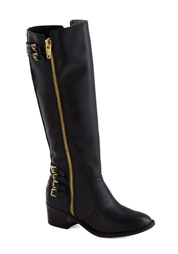 Zip Advisor Boot by Dolce Vita - Low, Leather, Black, Solid, Buckles, Exposed zipper, Best