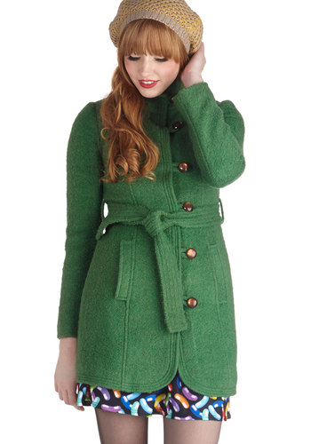 All Clover Again Coat by Tulle Clothing - 3, Green, Solid, Buttons, Pockets, Belted, Long Sleeve, Better, Exclusives, Military, Long, Green