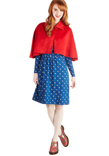 Cape Mod - Short, 1, Red, Solid, Vintage Inspired, Fall, Red