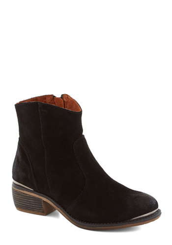 Right at Home Boot in Black - Low, Leather, Suede, Black, Solid, Minimal