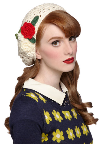 Make a Run Floret Hat by Disaster Designs - Cream, Red, Green, Solid, Crochet, Flower, Darling, Fall, Winter, Better, International Designer, Knitted, Knit, Holiday
