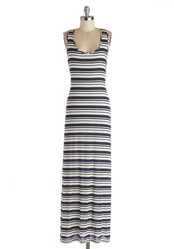 Ready to Stroll Dress - Jersey, Knit, Blue, Stripes, Nautical, Maxi, Racerback, Better, Scoop, White, Casual, Beach/Resort, Long, Cover-up