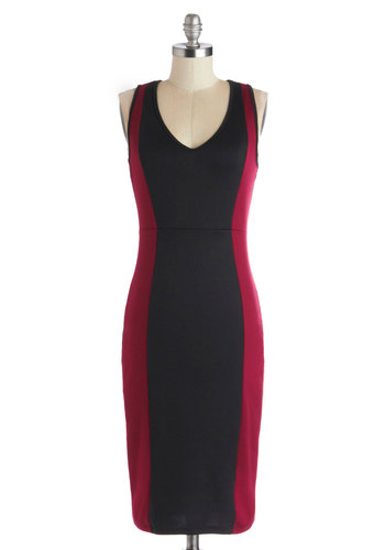 At Your Easel Dress - Black, Solid, Party, Girls Night Out, Colorblocking, Shift, Sleeveless, Good, V Neck, Long, Red, Knit