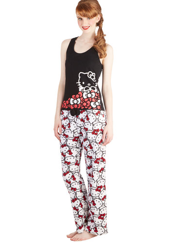 Hello Cozy Pajamas - Cotton, Knit, Multi, Red, Black, White, Print with Animals, Novelty Print, Kawaii, Quirky, Cats, Tank top (2 thick straps), Scoop