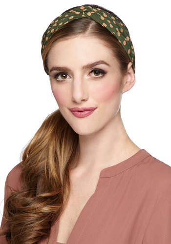 Dots to Love Headband in Pine - Green, Polka Dots, Better, Variation, Woven, Tan / Cream