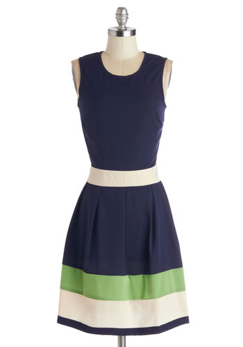 Coastal Companion Dress - Woven, Mid-length, Blue, Green, White, Stripes, Casual, A-line, Sleeveless, Good, International Designer, Scoop