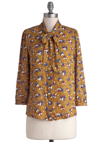 Lash Before My Eyes Top in Blooms - Mid-length, Chiffon, Woven, Tan, Blue, White, Floral, Buttons, Tie Neck, Work, Long Sleeve, Better, Exclusives, Yellow, Long Sleeve