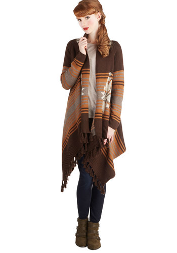 Hometown Festival Cardigan - Knit, Brown, Orange, White, Print, Casual, Long Sleeve, Better, Fringed, Rustic, Fall, Winter, Brown, Long Sleeve, Mid-length