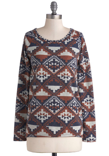 Geo Genius Sweater - Mid-length, Knit, Grey, Print, Casual, Long Sleeve, Good, Multi, Blue, Brown, Scoop, Folk Art, Multi, Long Sleeve