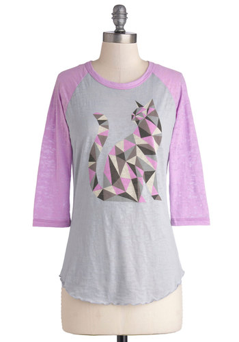 Cat-ch of the Day Top - Jersey, Sheer, Knit, Mid-length, Grey, Purple, Print with Animals, Casual, Cats, 3/4 Sleeve, Better, Scoop, 90s, Grey, 3/4 Sleeve