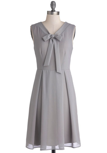 Pondside Processional Dress in Slate - Mid-length, Chiffon, Woven, Grey, Solid, Pleats, Tie Neck, Work, A-line, Sleeveless, Better, V Neck, Daytime Party, Vintage Inspired, Variation