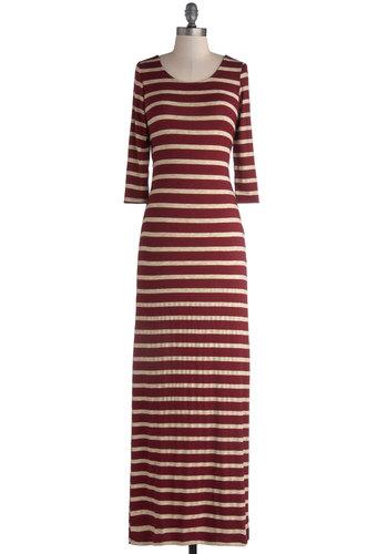 Brunch Haute Spot Dress - Long, Jersey, Knit, Red, Tan / Cream, Stripes, Cutout, Casual, Maxi, 3/4 Sleeve, Good, Scoop