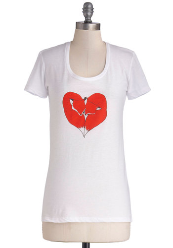Lifelong Loves Tee - Knit, Jersey, Sheer, Mid-length, White, Red, Print with Animals, Casual, Short Sleeves, Good, Exclusives, Scoop, White, Short Sleeve, Valentine's, Critters