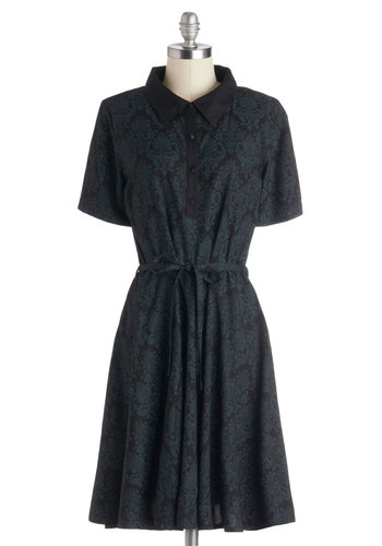 Design Drafting Dress - Woven, Mid-length, Black, Green, Print, Buttons, Belted, Casual, Shirt Dress, Short Sleeves, Better, International Designer, Collared