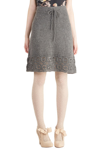Cozy Cosmopolitan Skirt by Nick & Mo - Mid-length, Knit, Grey, Solid, Knitted, Better, Casual, A-line, Winter, Grey
