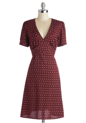 Saturday Best Dress in Deer - Long, Woven, Red, Pink, Print with Animals, Casual, A-line, Short Sleeves, Better, International Designer, V Neck, Vintage Inspired, 40s, Fall, Variation, Holiday