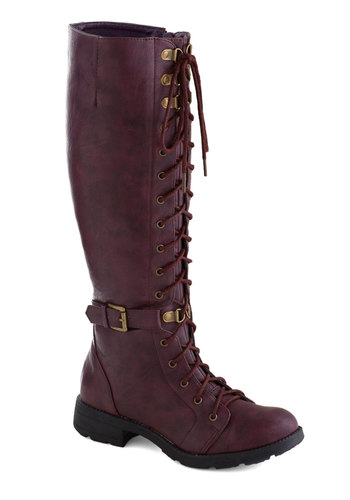 Discover Your Stride Boot - Purple, Solid, Buckles, Steampunk, Better, Lace Up, Low, Faux Leather, Casual, Winter