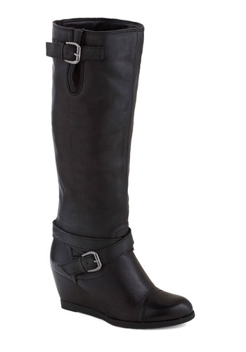 Goal-oriented Gal Boot in Black by Chelsea Crew - Mid, Leather, Black, Solid, Buckles, Better, Wedge, Variation