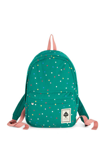 Shuffle Through Your Day Backpack - Green, Multi, Print, Scholastic/Collegiate, Good, Woven, Travel, Valentine's