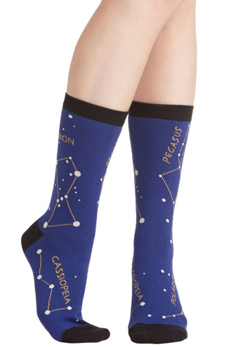 Stellar Combination Socks - Knit, Blue, Black, Multi, Cosmic, Good, Novelty Print, Nifty Nerd