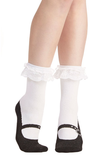 Shoe Shouldn't Have! Socks - Knit, Woven, White, Black, Ruffles, Print, Darling