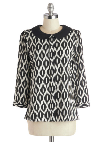 Clientele All Top - Novelty Print, Peter Pan Collar, 3/4 Sleeve, Good, Mid-length, Woven, Tan / Cream, Black, Work, Black, 3/4 Sleeve