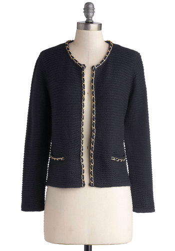 Chain of Scenery Cardigan in Navy - Blue, Solid, Chain, Long Sleeve, Better, Short, Knit, Work, Blue, Long Sleeve, Holiday Party