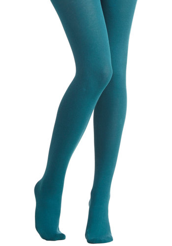 Truly Trustworthy Tights in Teal - Knit, Blue, Solid, Casual, Fall, Winter, Better, Variation, Basic, Folk Art, Fruits
