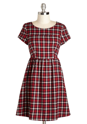 Reading A-List Dress - Red, Black, White, Plaid, Casual, Vintage Inspired, Scholastic/Collegiate, A-line, Short Sleeves, Scoop, Good, Mid-length, Cotton, Woven, Exposed zipper, Winter, 90s