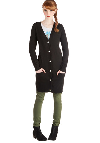 At Long Last Cardigan in Black - Knit, Black, Solid, Buttons, Pockets, Long Sleeve, Better, Variation, Casual, V Neck, Black, Long Sleeve
